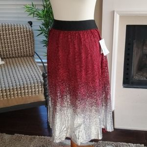 NWT LulaRoe Metallic Silver Lace Skirt XL